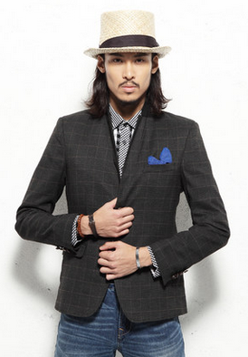 2-Button britânica Estilo Bespoke Plaid Suit Blazer Jacket