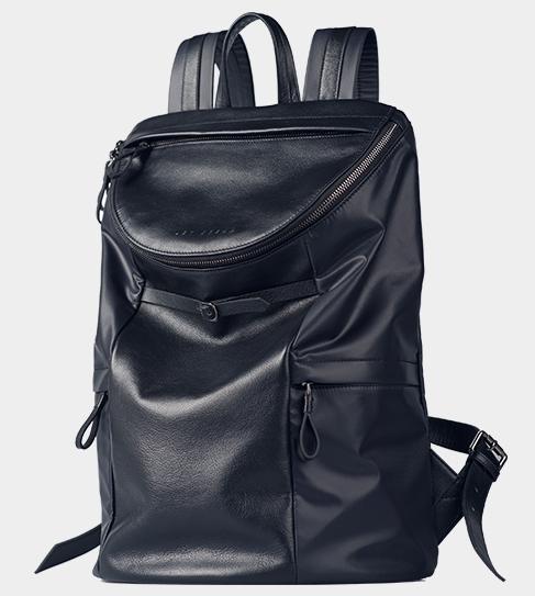 2-Tone Leather Nylon Upscale Navy Blue Stylish Backpack