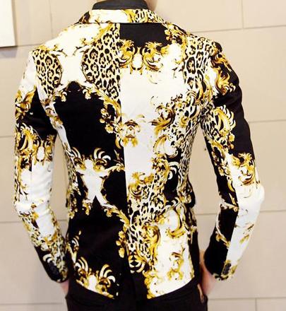 Gold Black White Pilaeo Animal Design Blazer Pilaeo
