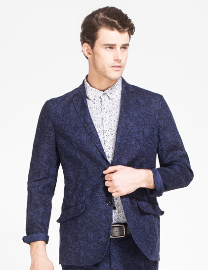 Dark Blue Blumendruck Mens Blazer