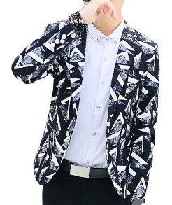 Abstract Geometric Art White Black Creative Blazer at Pilaeo Mens Fashion