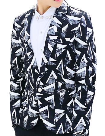 Abstract Geometric Art White Black Creative Blazer at Pilaeo Mens Fashion
