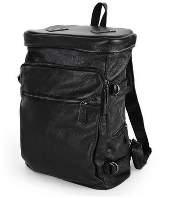 mens large black leather backpack | PILAEO