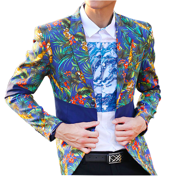 Floral Mens Blue summer Blazer