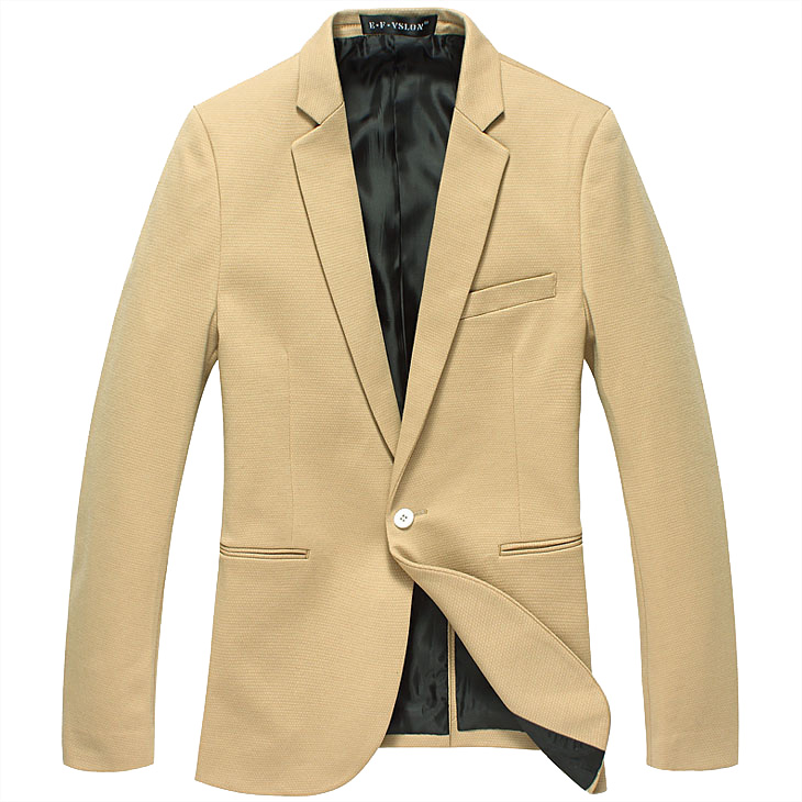 Atraente Men High End Inglaterra Khakhi Magro Blazer Jacket