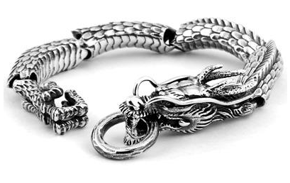 Articulate Modern Silver Dragon Bracelet For Men