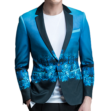 turquoise gradient mens luxury floral blazer at PILAEO
