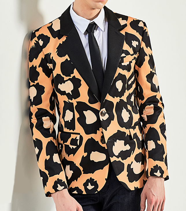 hombres artísticos tan leopardo animal print blazer exclusivo