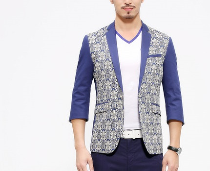 _             Attrayant de luxe violet beige antique floral mens short sleeve blazer