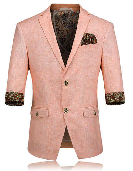 peach linen mens summer blazer