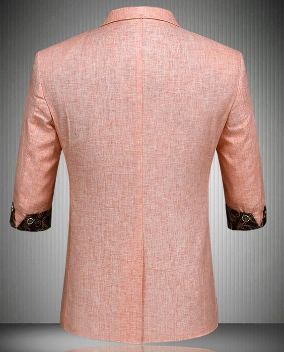 Awesome Peach Linen Paisley Trim Mens Short Sleeve Blazer