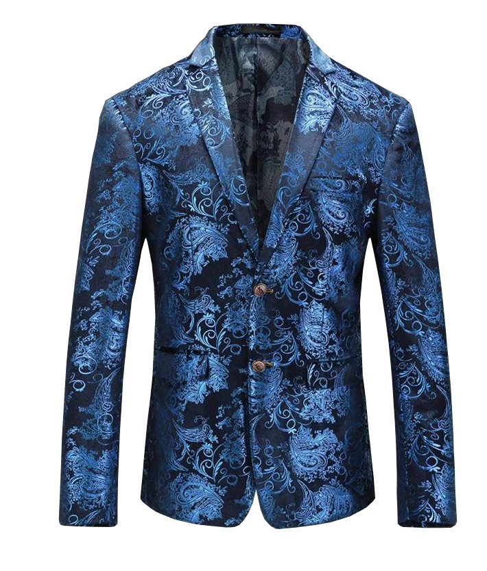blue paisley floral mens fashion blazer at PILAEO