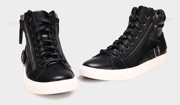 Black High Top Zipper Leather Casual Sneaker Pilaeo
