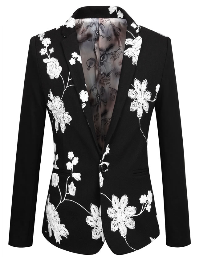 floral branco elegante blazer preto bordado   color: black / whi