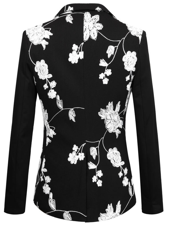 Black White Floral Embroidered Elegant Blazer Pilaeo