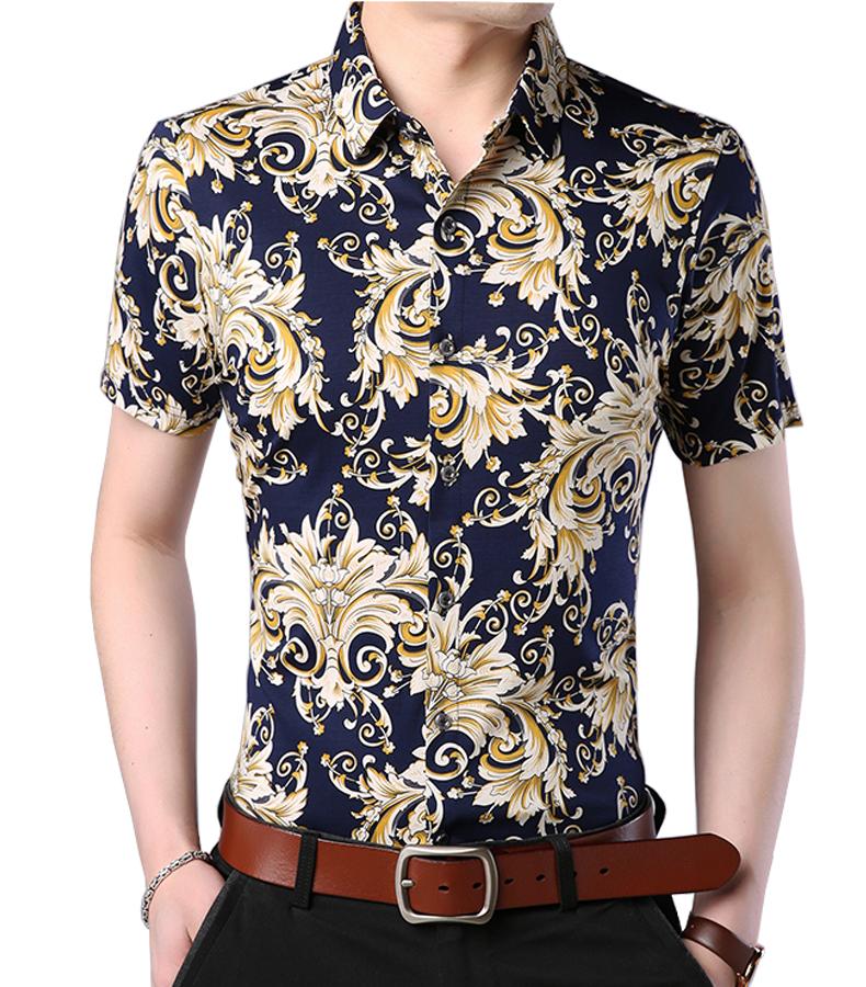 Black White Gold Fashionable Modern Luxury Mens Damask Short Sleeve Shirt