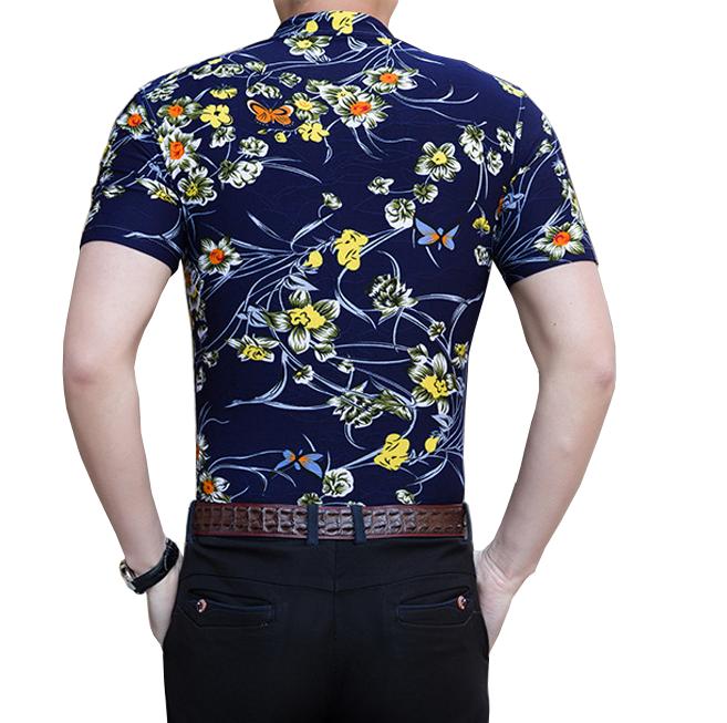 Black Yellow Floral Mens Short Sleeve Dress Shirt Pilaeo