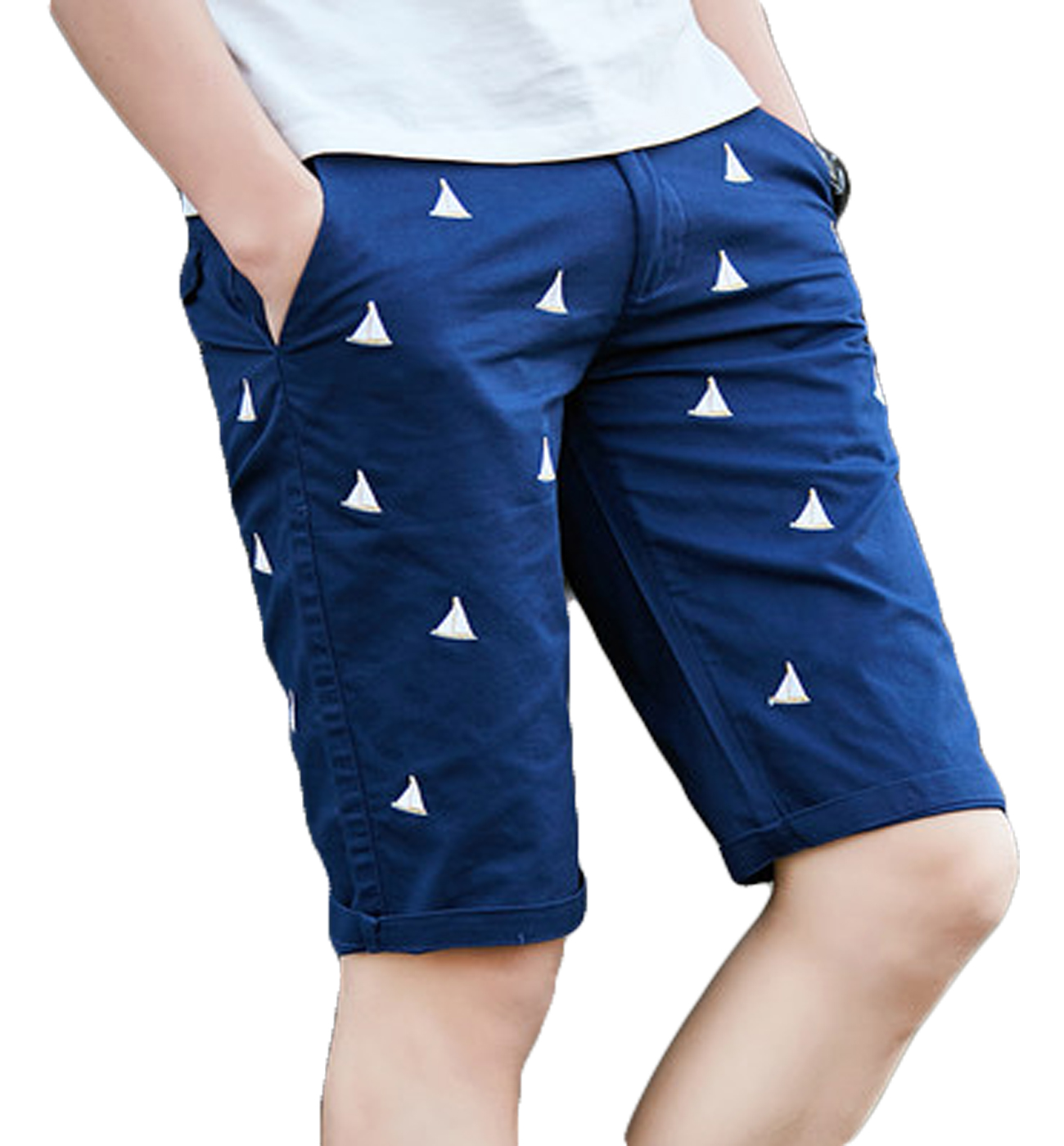 Blue Fashionable Mens Sail Slim Barcos bordados Shorts de gama alta