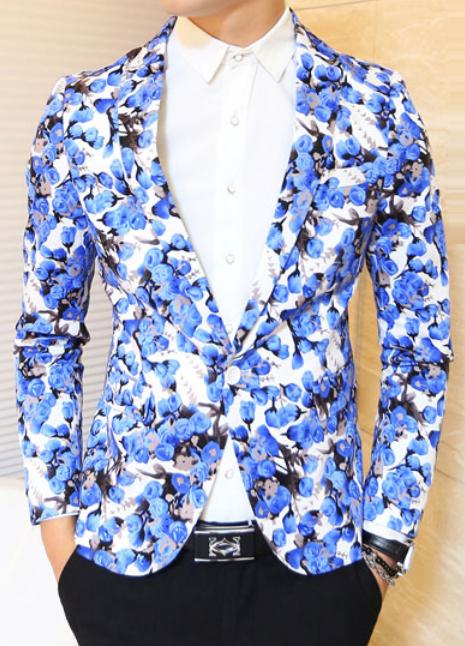Blue Floral Modern Fashion Stylish Blazer Pilaeo