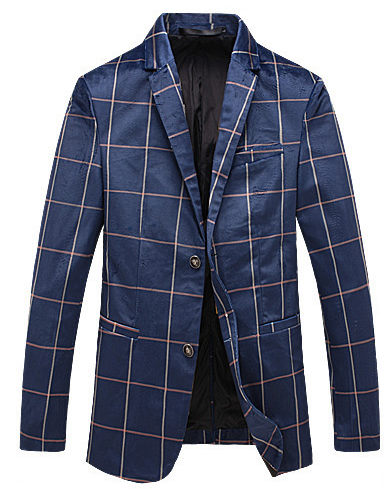 blau Plaid Samt Beiläufiges High-End Gentlemens Blazer Jacke
