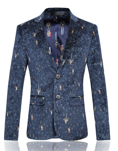 Blue Velvet Sparks Mens Animal Pattern Dapper Blazer