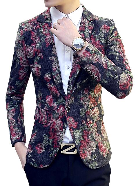 Brilliant Mens Floral Modern Blazer at Pilaeo Mens Fashion