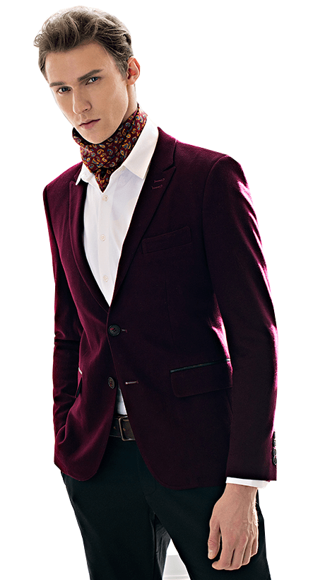 Burgundy Mens Blazer Effortlessly High End Featuring Structured Trim at PILAEO