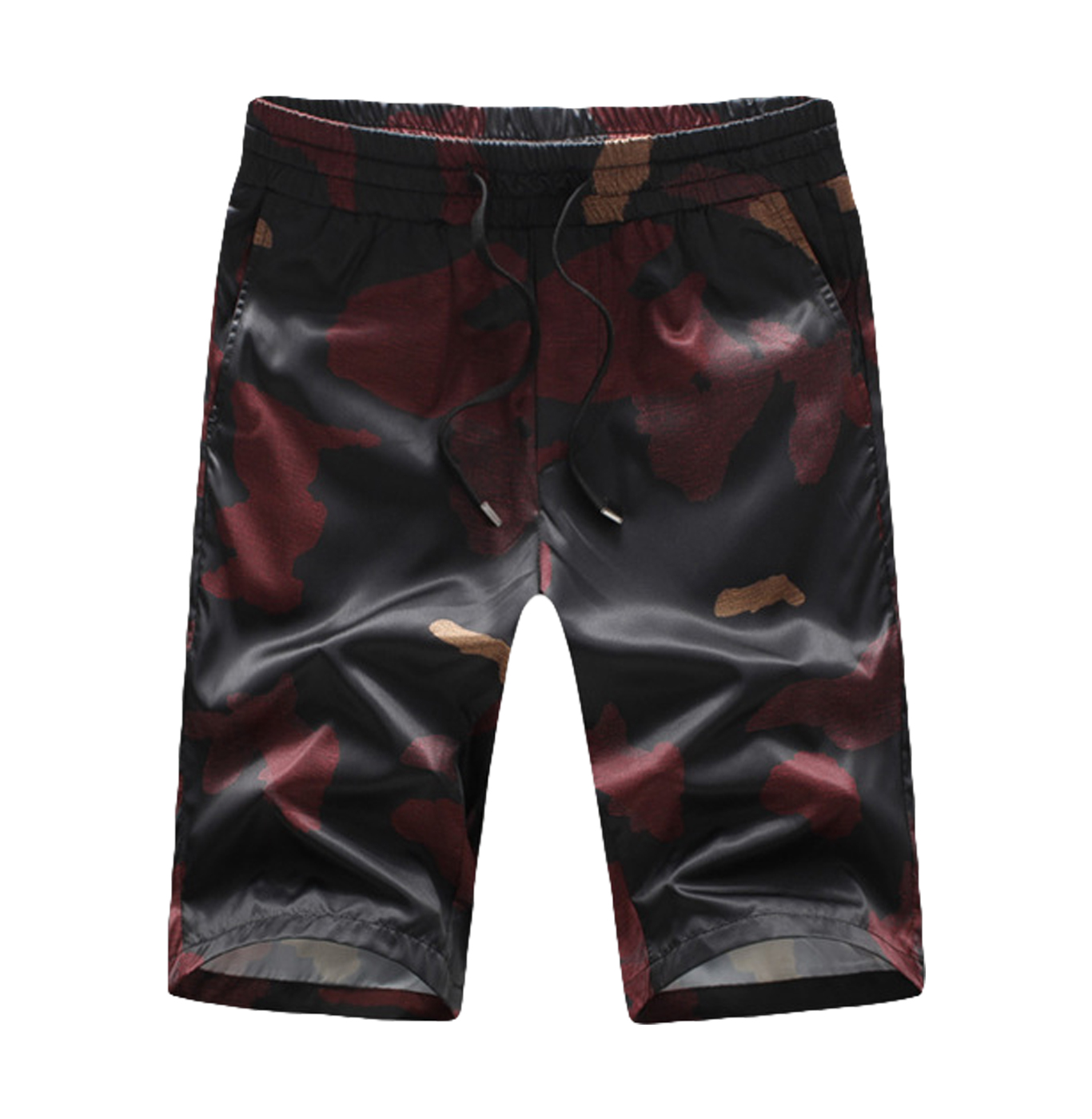 Casual burgundy mens camouflage print leichte shorts