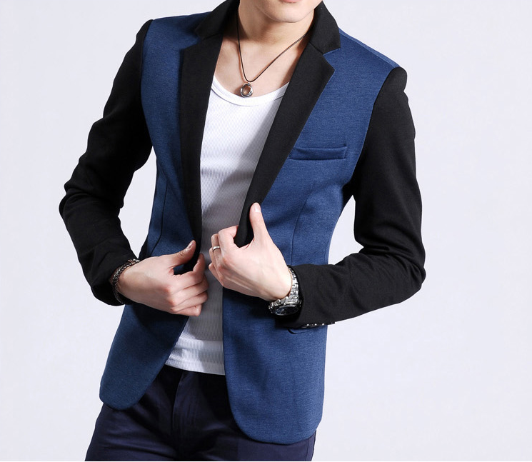 Casual Single Button Blau Schwarz Polyester Mischung Blazer