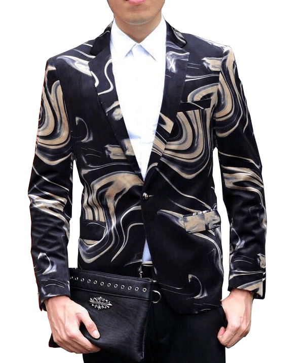 Charming Beige Black Luxury Marbleized Mens Blazer