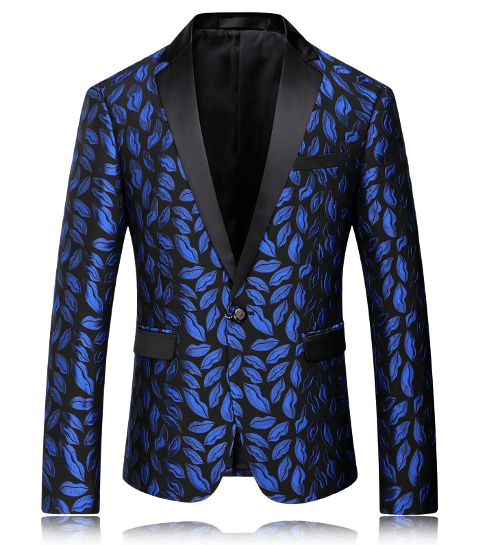 Charming Blue Antique Floral Leaves Blazer For Men at Pilaeo Mens Fashion