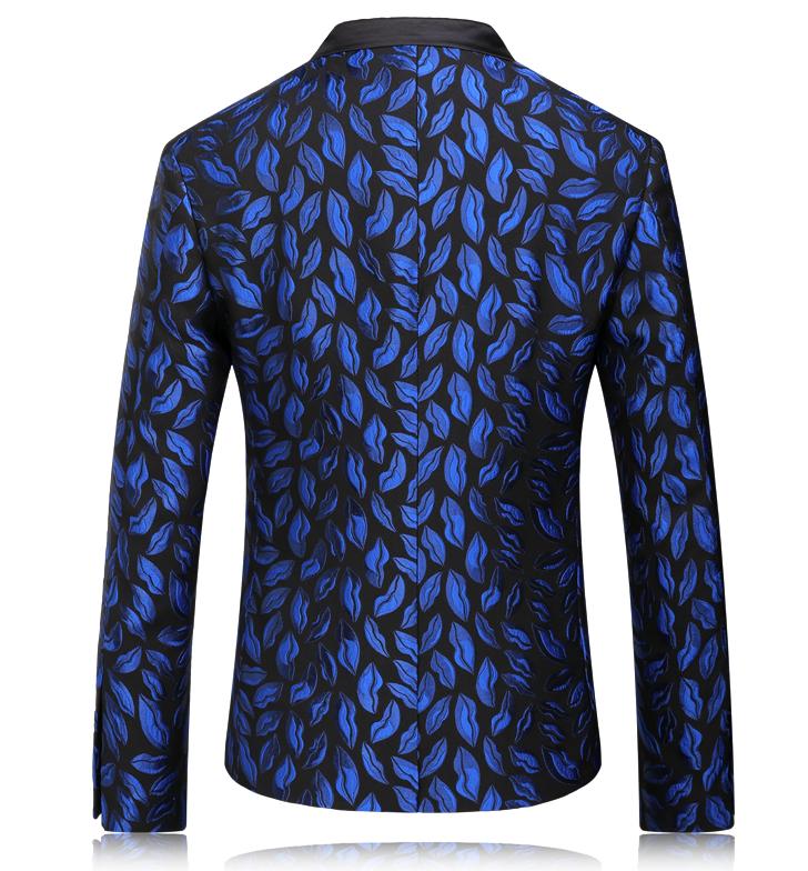 Charming Blue Antique Floral Leaves Blazer For Men at Pilaeo Mens Fashion