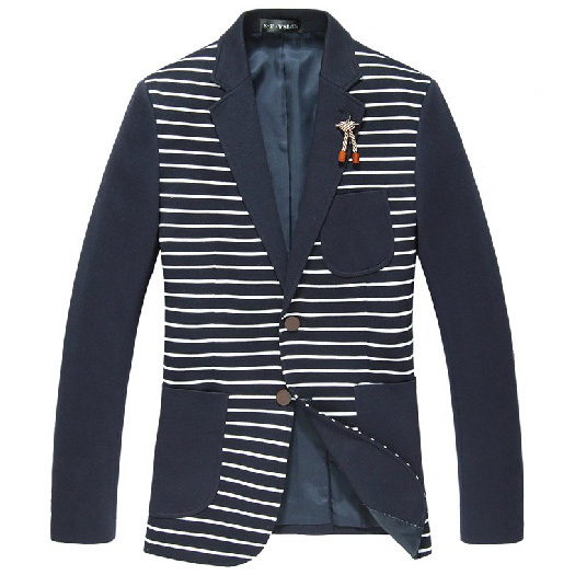 Chic Broche Enfeite Stripped Azul Blazer Jacket
