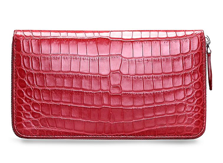 dd60686094 Chic Ruby Red Crocodile Travel Wallet