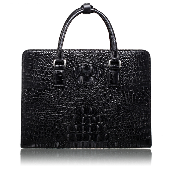 Genuine Black Crocodile Leather Briefcase By PILAEO