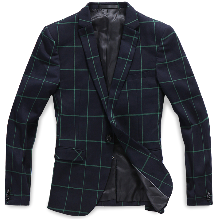Confident Pilaeo Navy Blue Green Plaid Neat Blazer