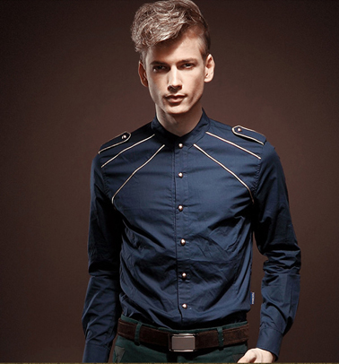 Camisa azul oscuro PILAEO Royalty estilo Slim Fit Button Down