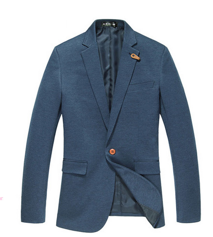 PILAEO Strick Elastic Single Button Blauer Blazer Jacket