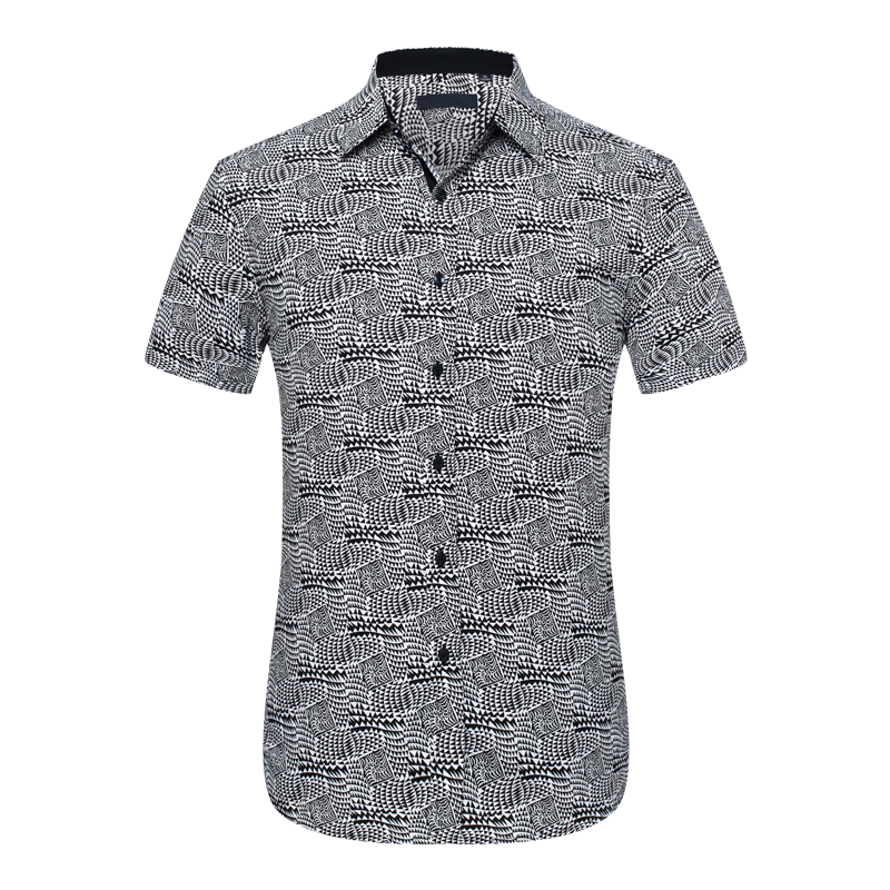 2f696f6ef5 Cool White Black Mens Geometric Short Sleeve Dress Shirt