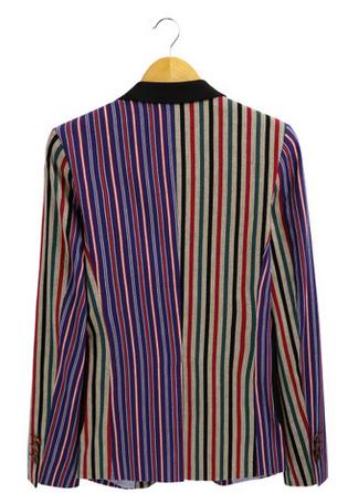 Creative Multicolor Striped Blazer Jacket Pilaeo