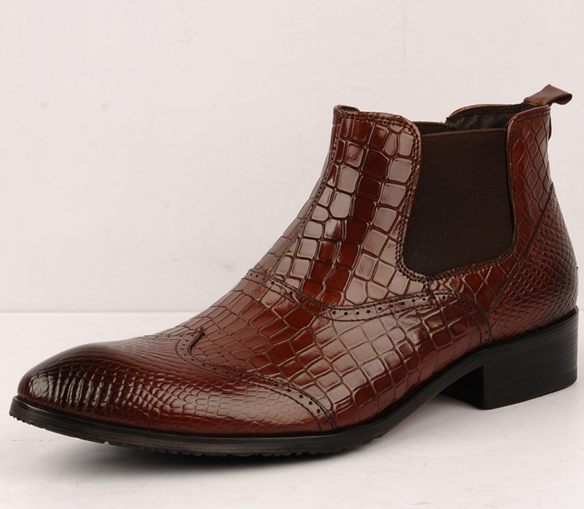 Bottes Chelsea Dandy Brown Crocodile Motif de luxe en cuir