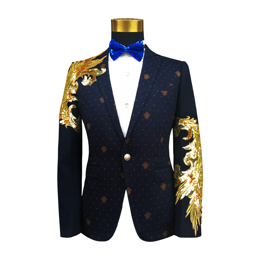 Dazzling Gold Arm Mens Navy Blue Tailored Stylish Versatile Sport Coat
