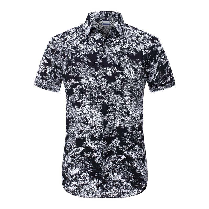 0f82dd21e1 Distorted Floral White Black Dress Shirt For Men