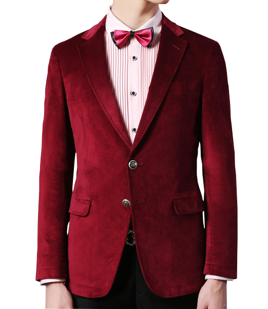 Mens Luxury Double Buttoned Burgundy Velvet Blazer