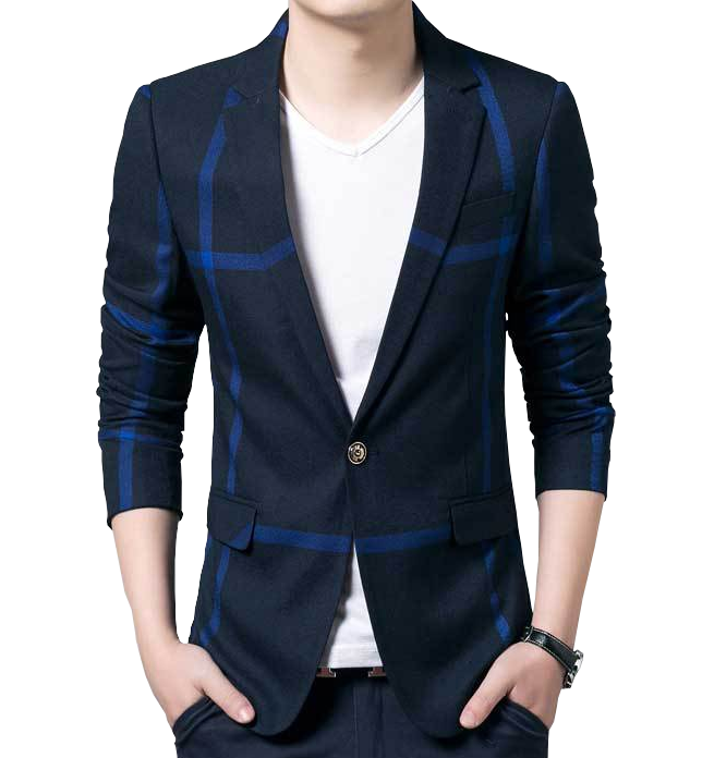 Soir bleu occasionnel Blazer plaid gentleman