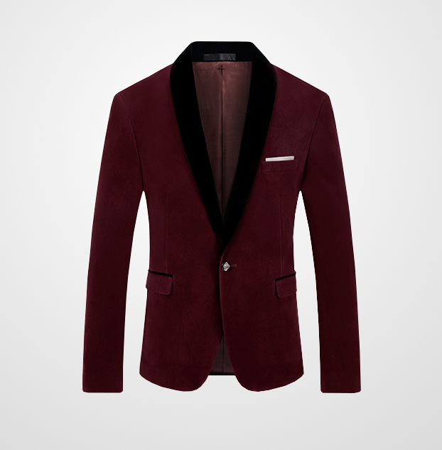 Burgundy Velvet Blazer With Black Lapel