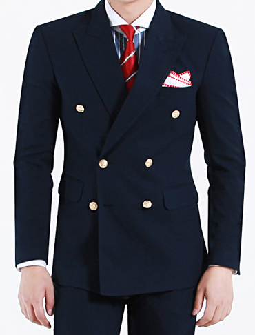 Exceptional Mens Navy Double Breasted Blazer Gold Buttons