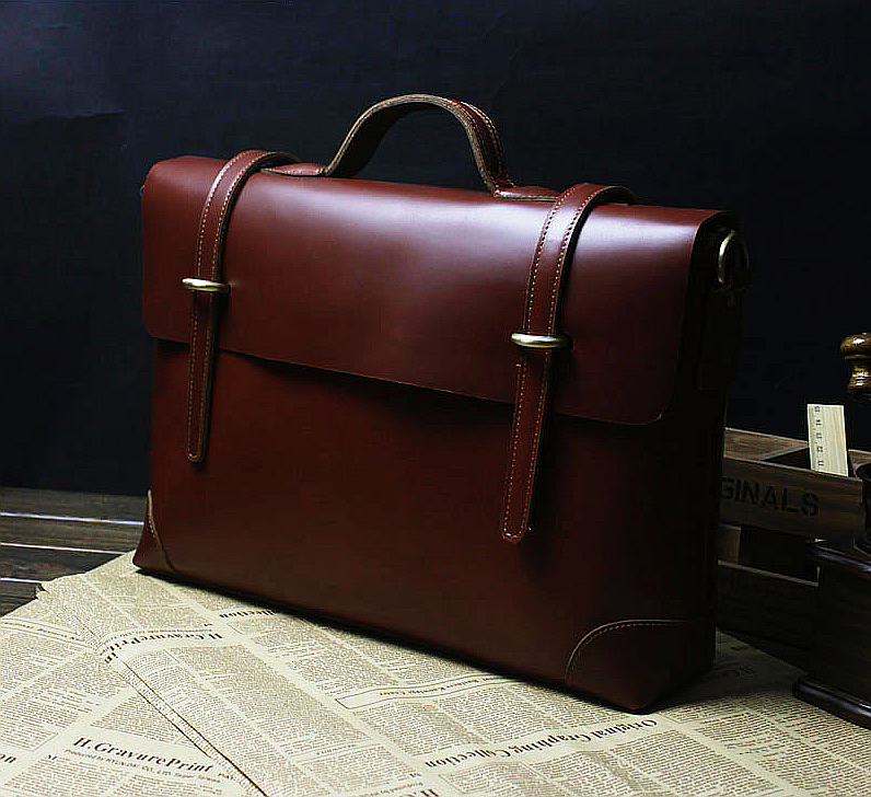 Exclusive satchel style Mens Brown Briefcase
