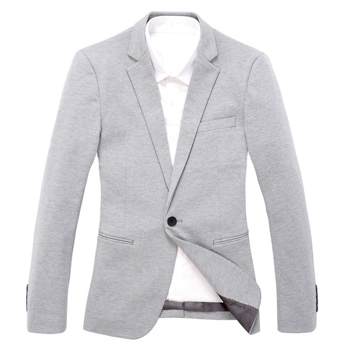 Exclusive malha Onda Ponto Magro Light Gray Blazer Jacket