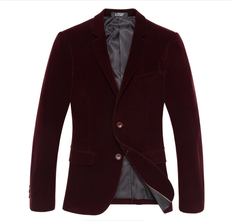 Sentido exclusivo da Light Gold Velvet Wine Blazer Jacket